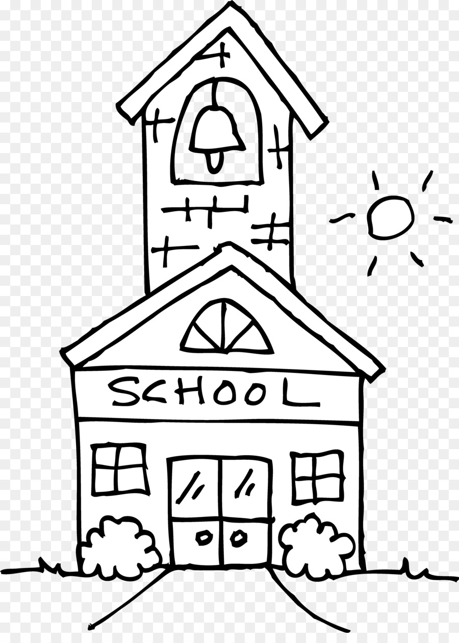 Black and white transparent. Outline clipart school
