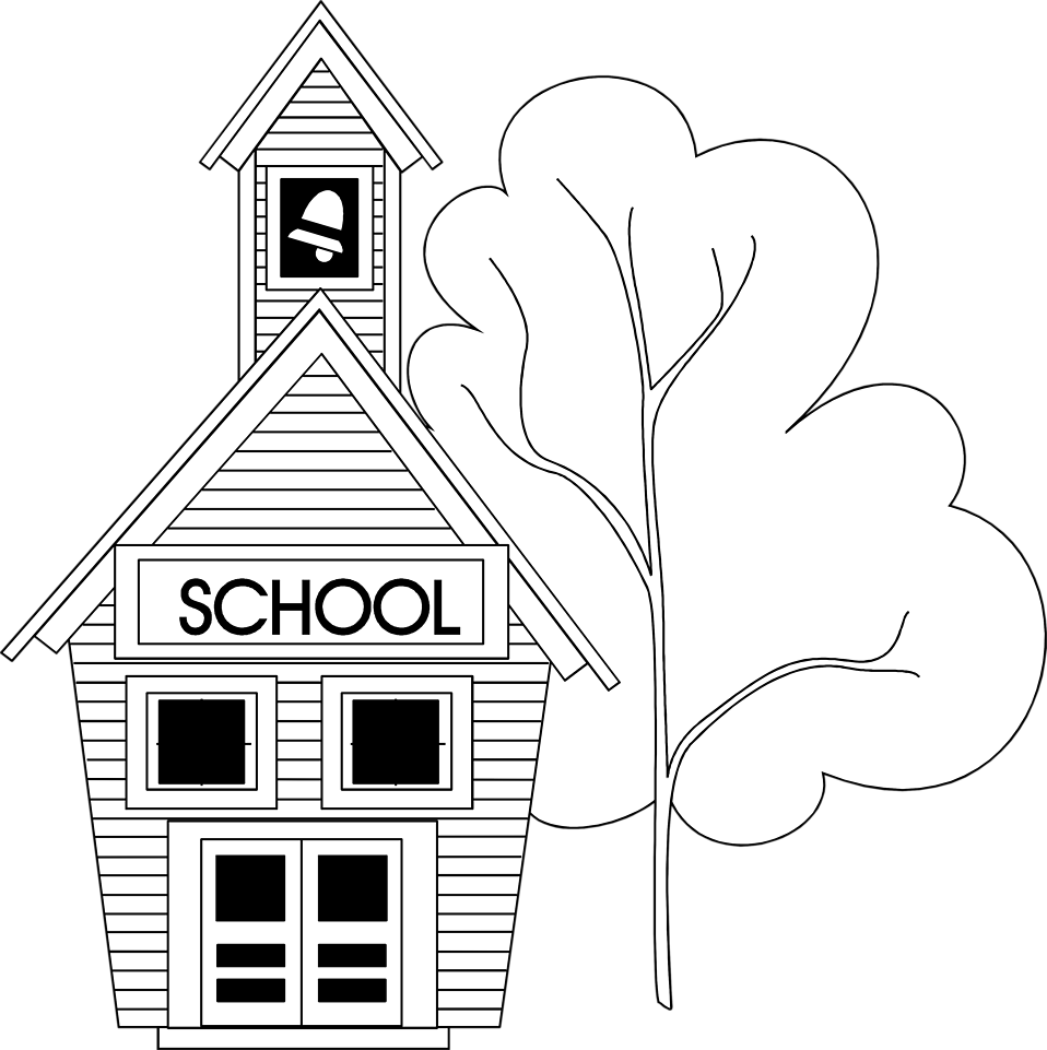 Coloring clipart school. Buildings and architecture printable