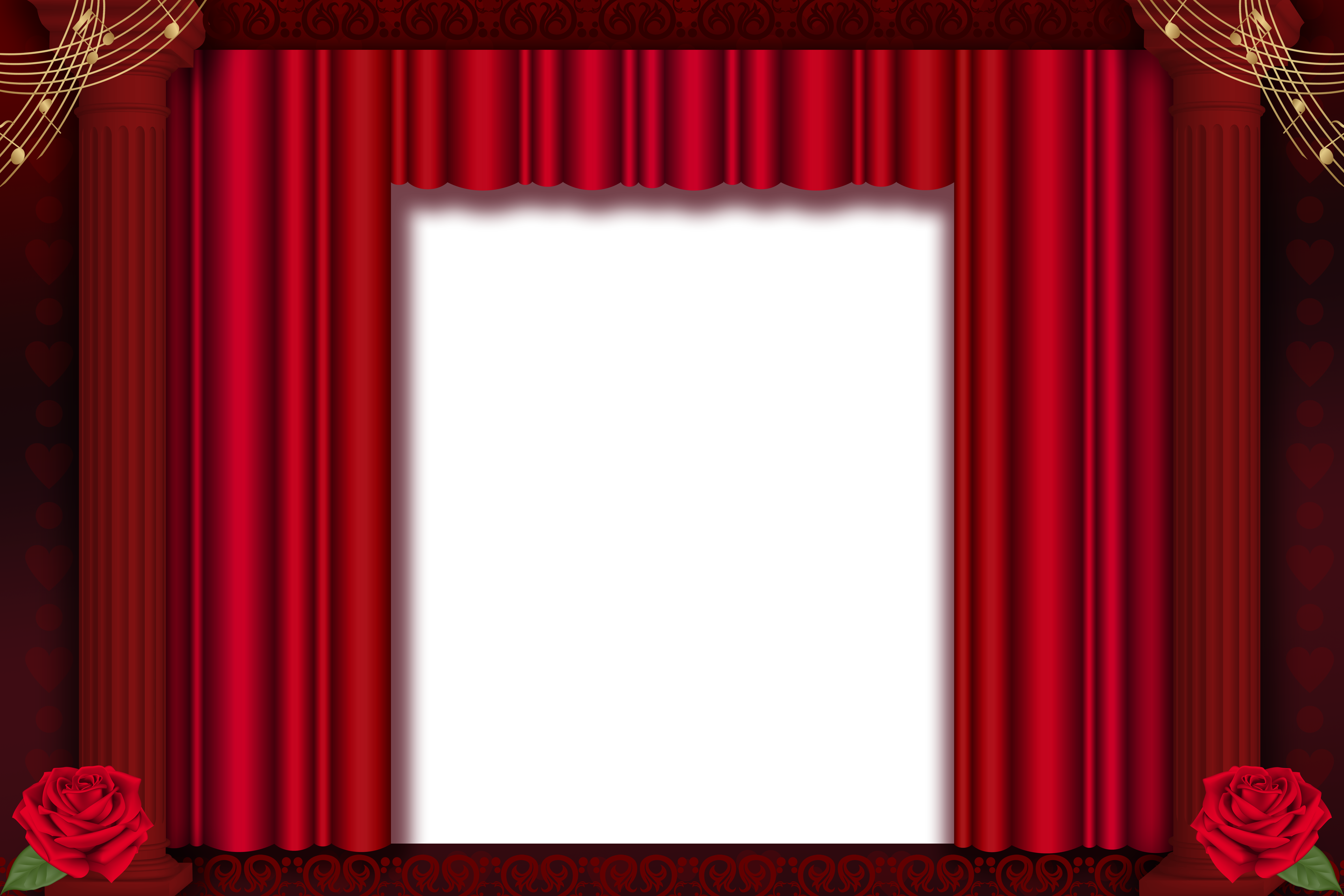 Curtains clipart gold light. Red transparent png frame