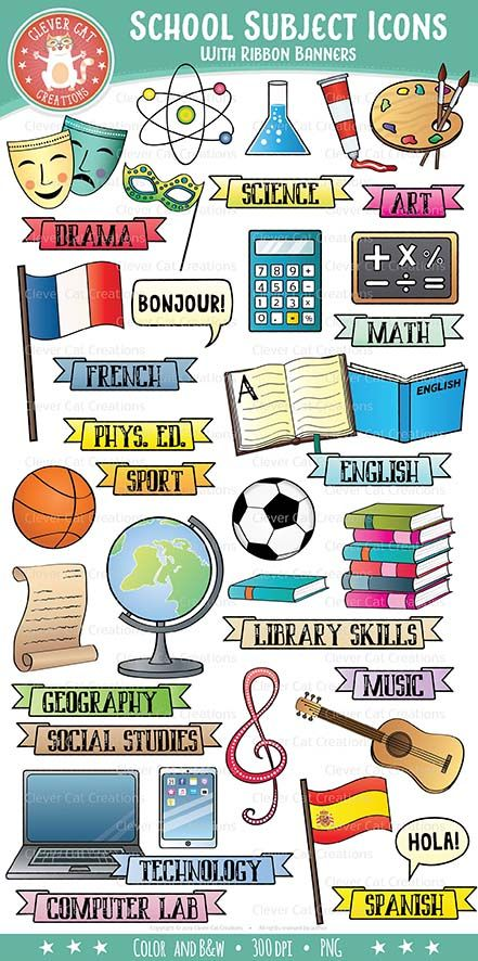 Subjects clip art icons. Clipart school subject