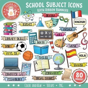 Clipart school subject. Subjects clip art icons
