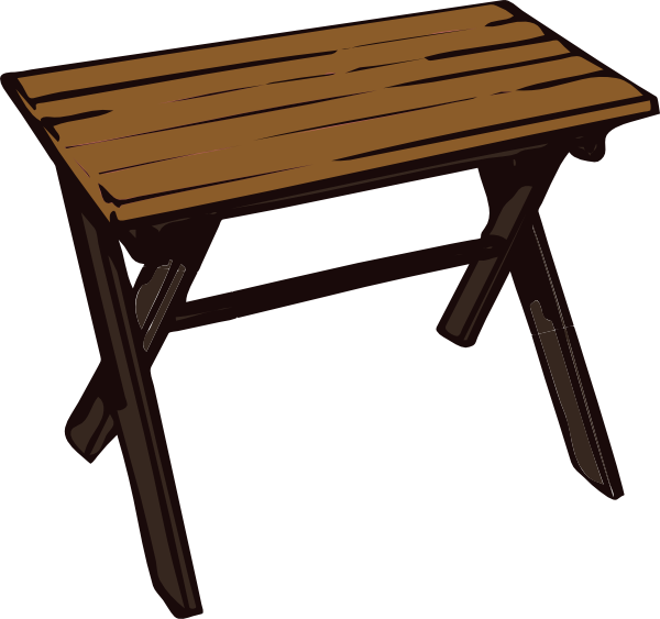 Collapsible wooden table clip. Desk clipart meja