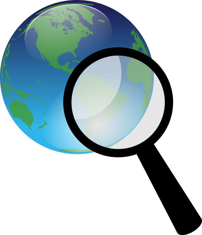 Earth and magnify medium. Scientist clipart magnifying glass