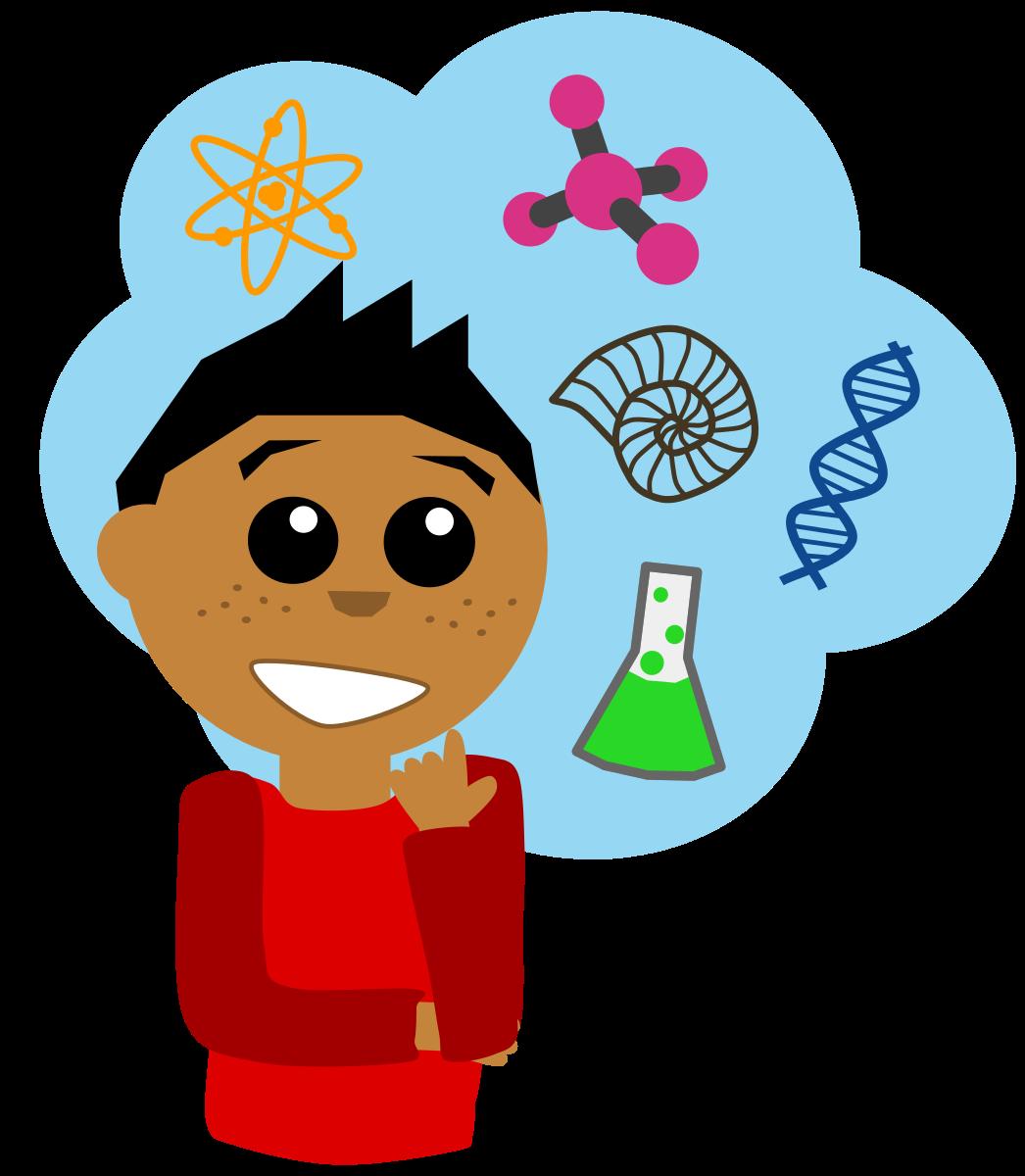 Thinking scientist. Clipart scientific