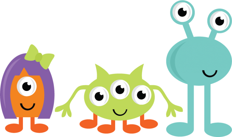 Cute monsters svg cut. Monster clipart orange