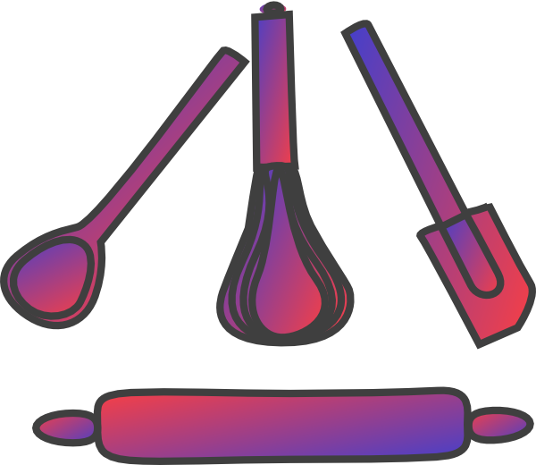 Bakery Utensils Gradient Red Blue Clip Art at Clker