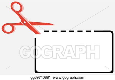 Vector out rectangle shape. Coupon clipart cut line