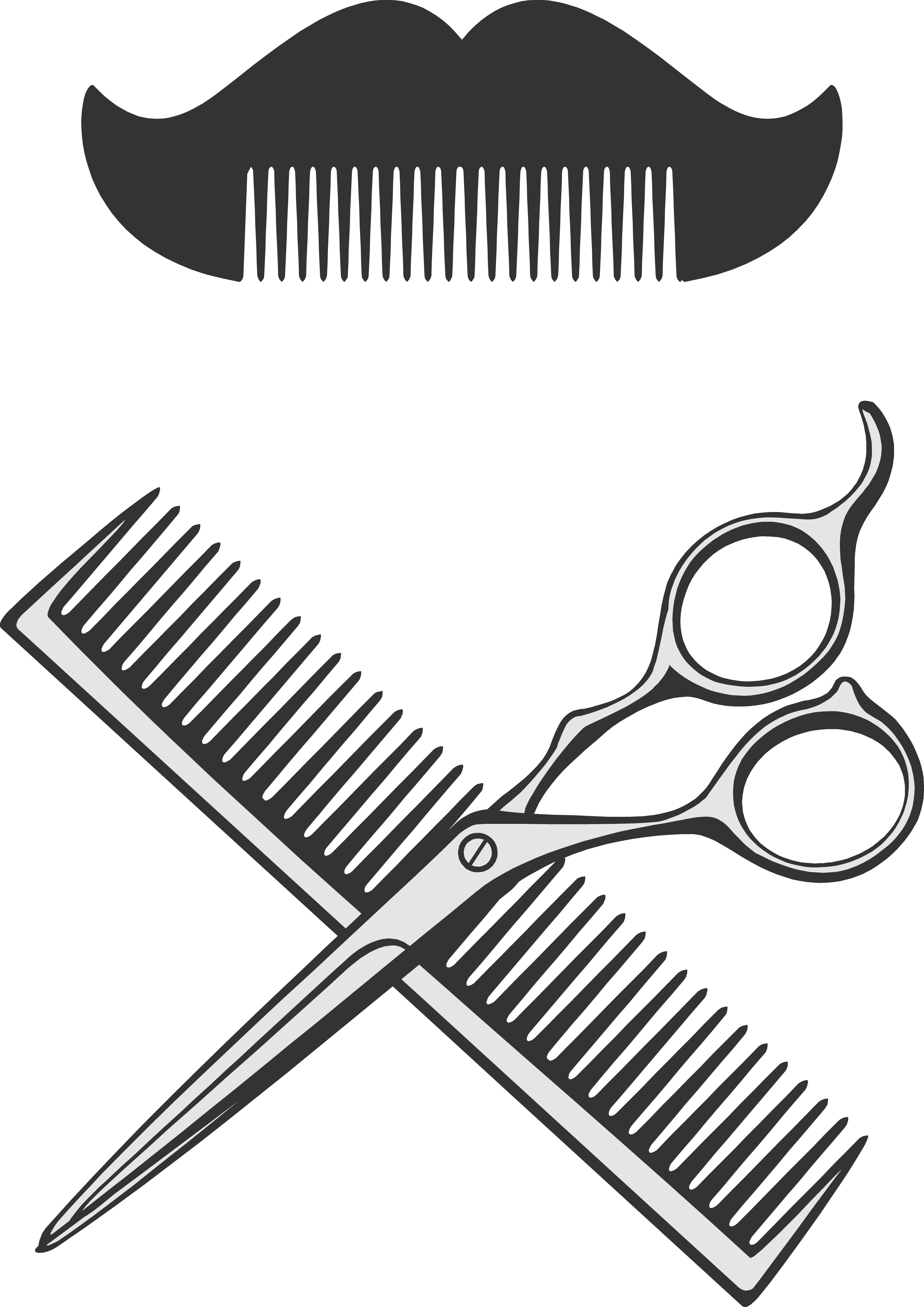 Comb barber and vector. Clipart scissors hair dryer
