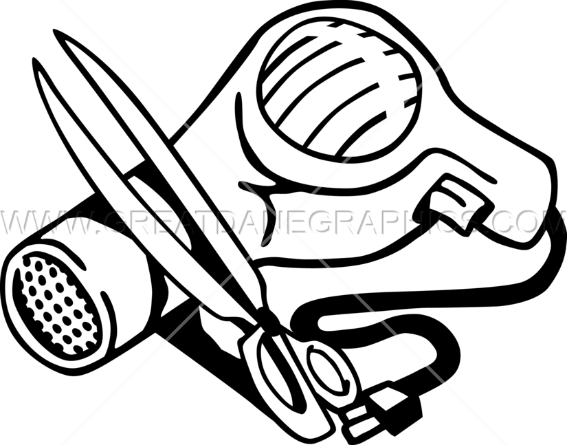 Clipart scissors hair dryer. Production ready artwork for