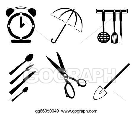 Vector stock collection of. Clipart scissors household object