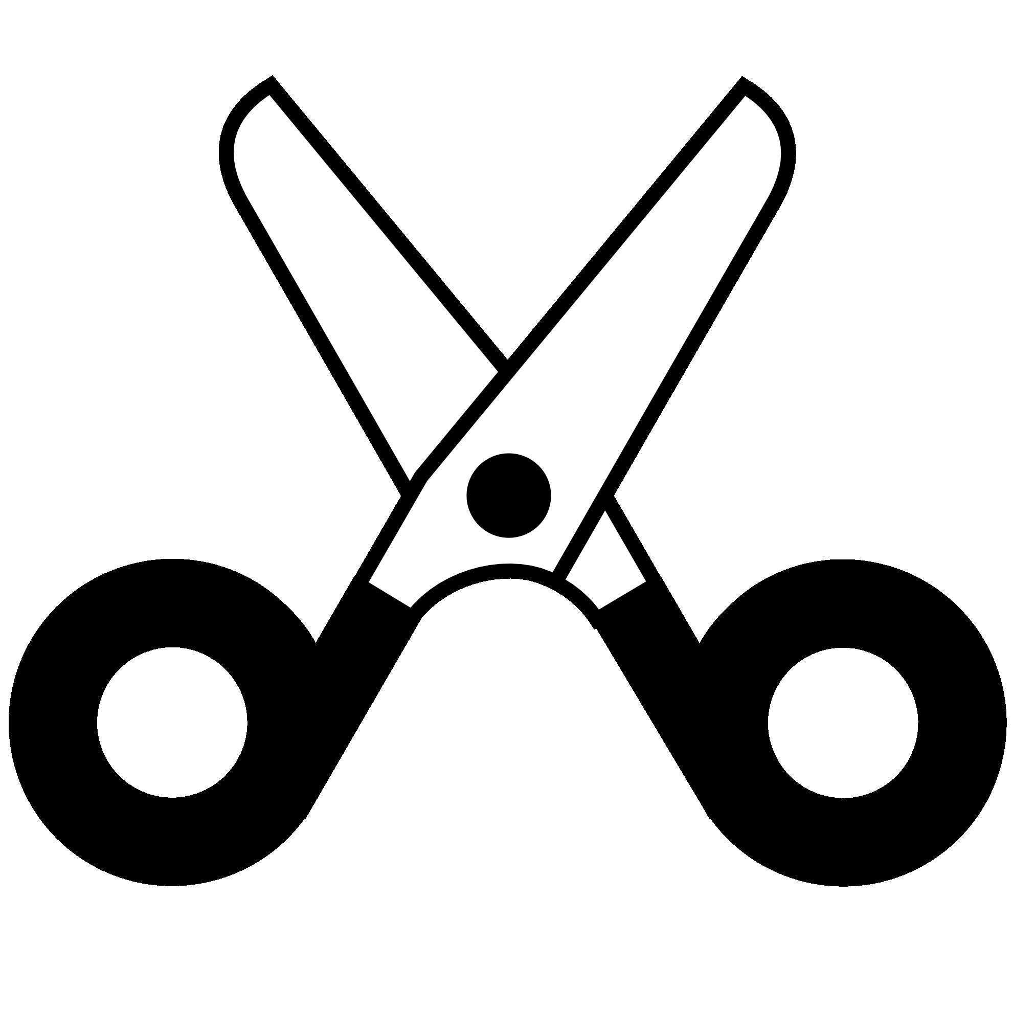 Scissors open icon panda. Shears clipart black and white