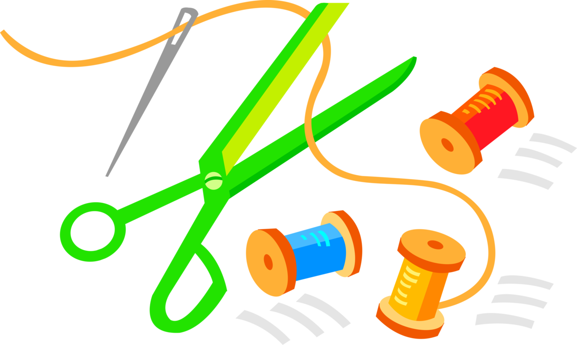 Sewing clipart spool thread. Scissors with needle and