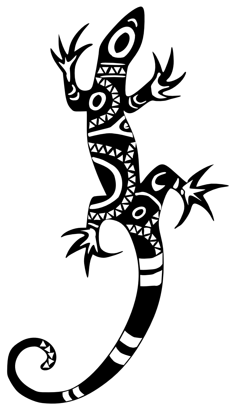 Lizard clipart drawn. Tribal tattoo isolated stock