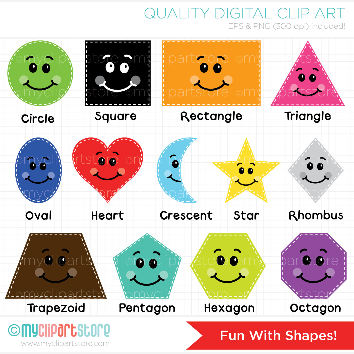 Fun with educational teachers. Clipart shapes
