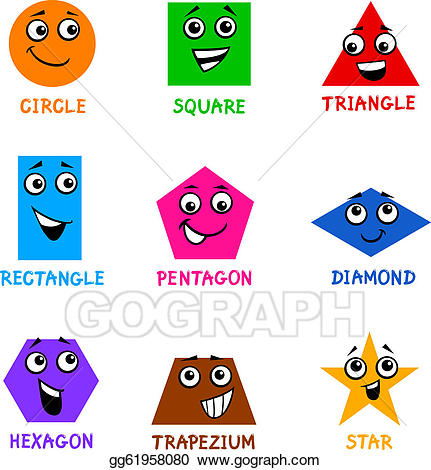 Geometry clipart different shape. Vector basic geometric shapes