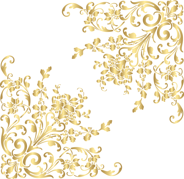 Vines clipart boho. Gold corners png clip