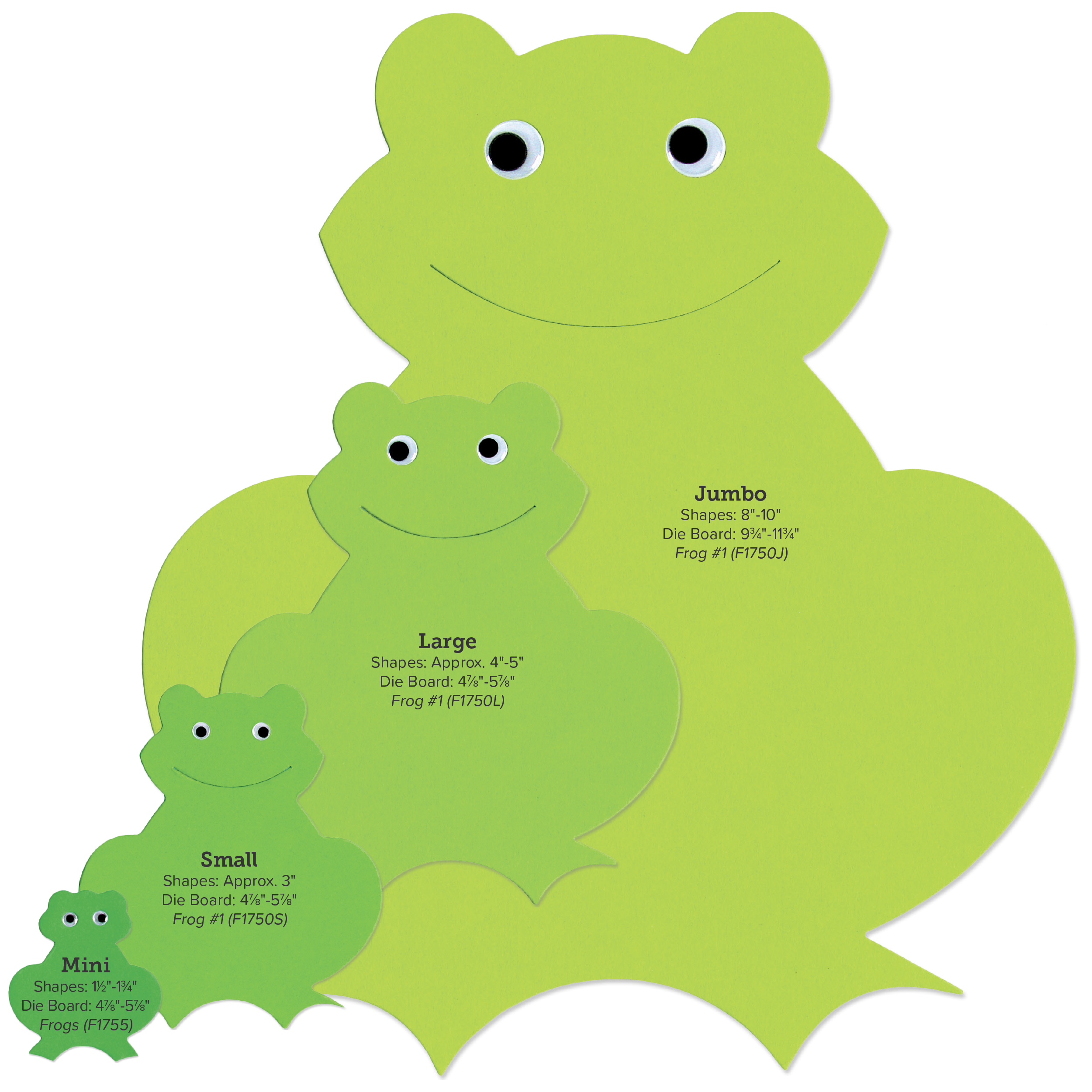 Frogs clipart shape. Size guide accucut shapes
