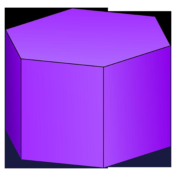 Hexagonal prism d shape. R clipart purple