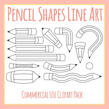 Lengths opposites line art. Clipart shapes pencil