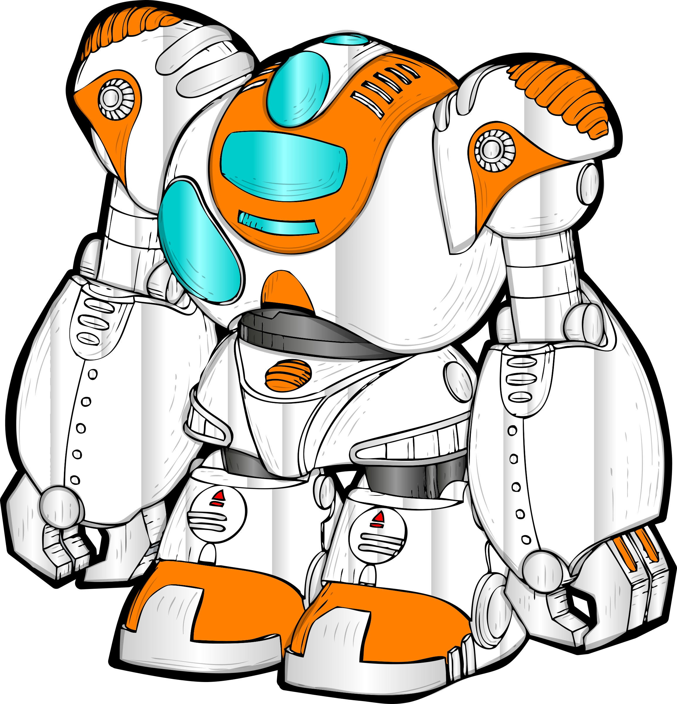 Colors clipart draw. Robot drawing pictures at