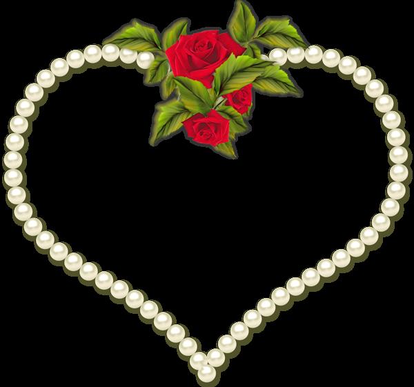 Pearl clipart heart shaped. Rose frame clip art