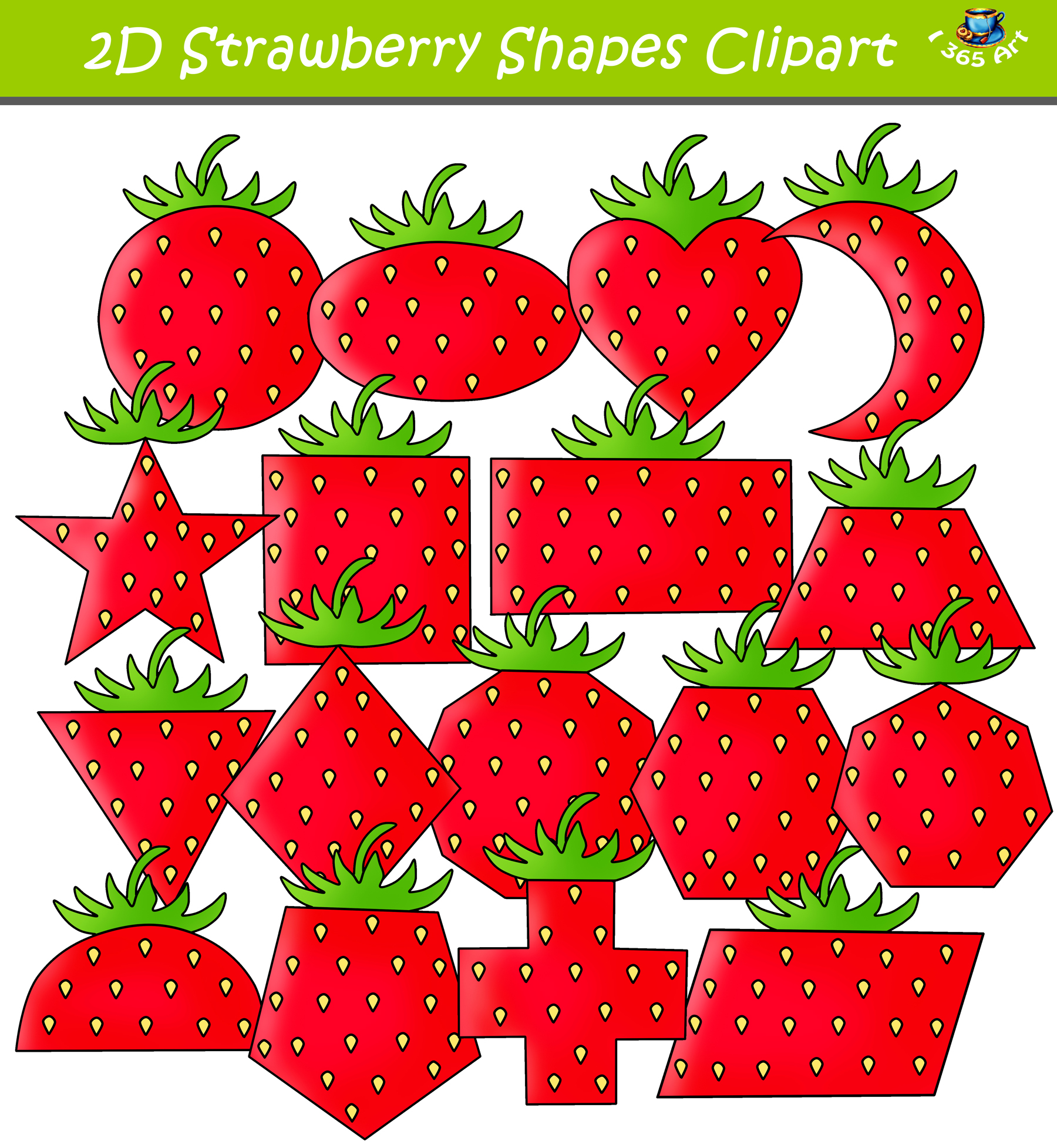 d strawberry shapes. Strawberries clipart shape