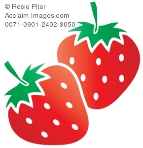 Strawberries clipart shape. Clip art illustration of