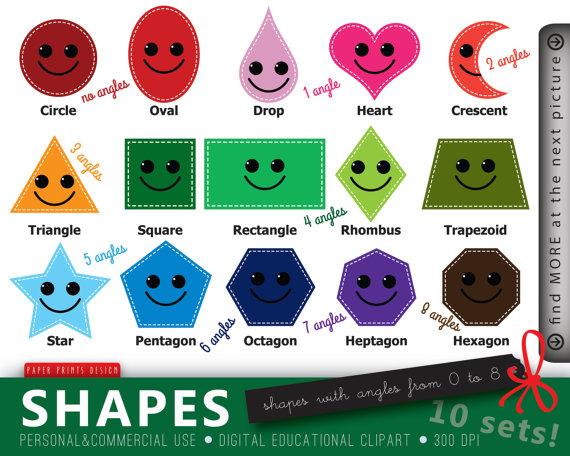 sets educational shapes. Kindergarten clipart shape