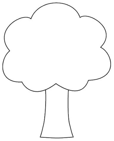 To color cm templates. Tree clipart shape