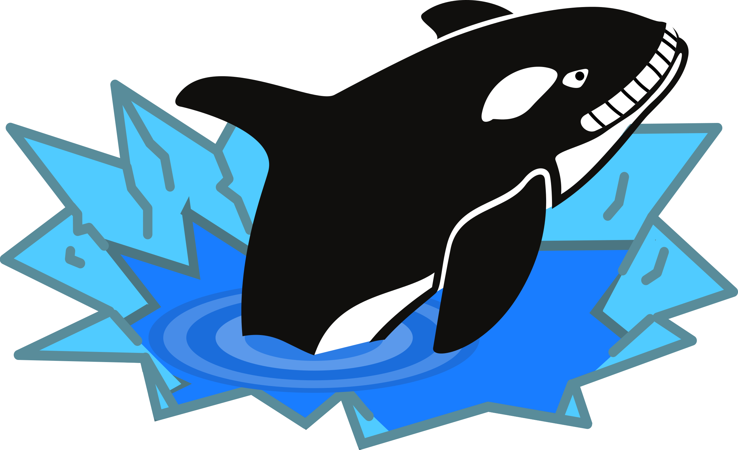 Evil cartoon looking and. Orca clipart drawing