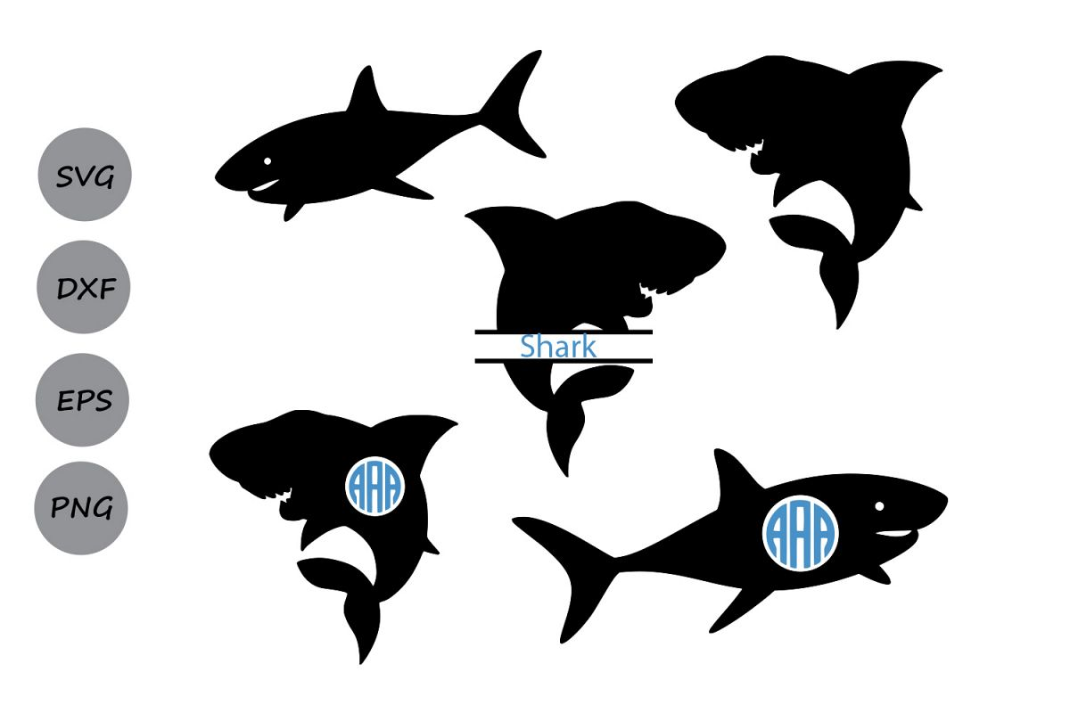 Clipart shark file. Svg silhouette monogram cutting