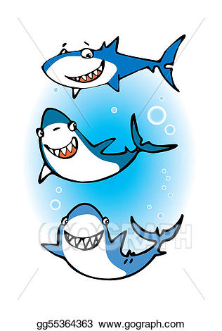 Vector three sharks illustration. Clipart shark happy