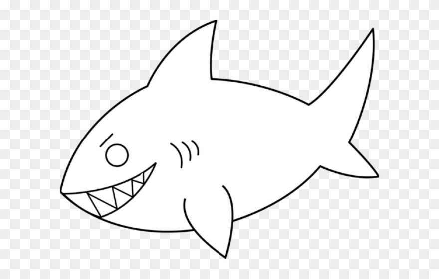 Line art animal picture. Clipart shark outline