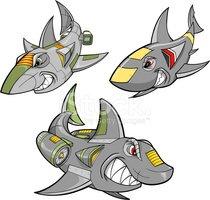 Clipart shark robot. Set stock vectors me