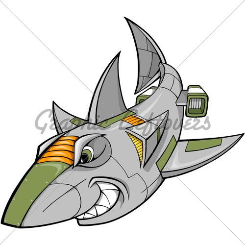 Clipart shark robot. Cyborg vector illustration gl
