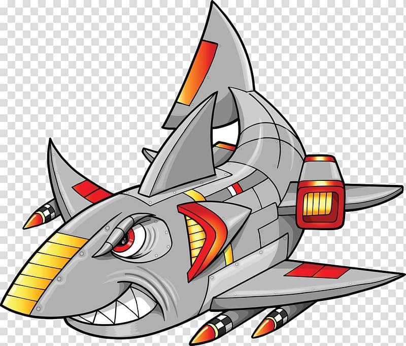 Mech painted cartoon transparent. Clipart shark robot