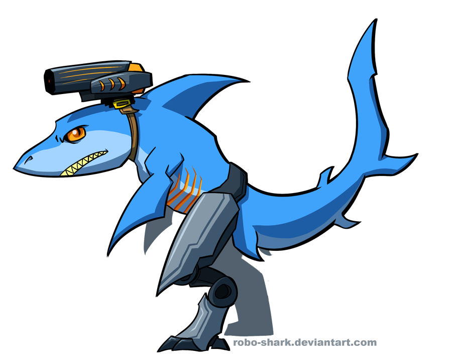 Clipart shark robot.  collection of drawing