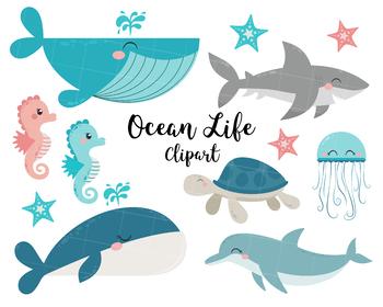 Dolphin clipart ocean life. Shark whale jellyfish sea