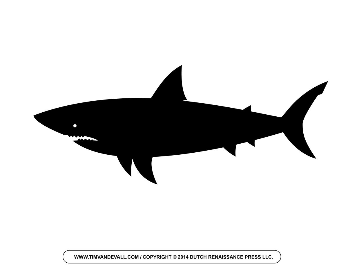 Silhouette tattoos . Clipart shark side view