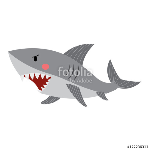 Clipart shark side view. Animal cartoon character isolated