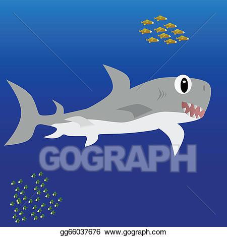 Clipart shark underwater. Vector stock illustration