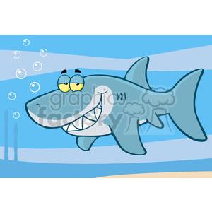 Clipart shark underwater. Cartoon royalty free