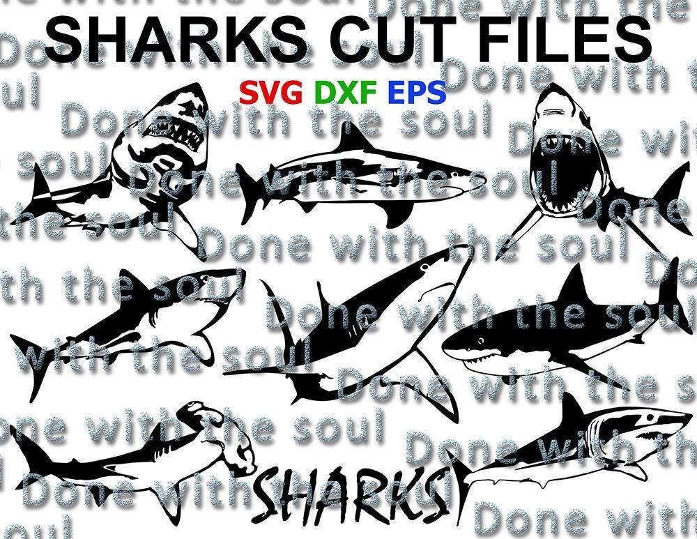 Clipart shark vector. Illustration cut svg fish