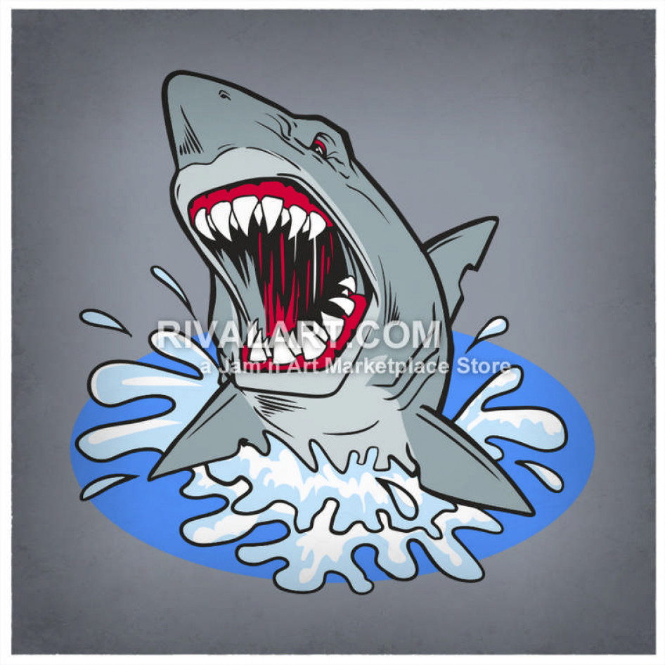 Jumping out of the. Clipart shark water