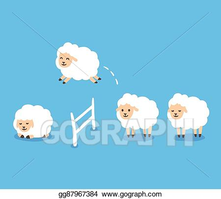 Vector illustration counting stock. Sheep clipart asleep