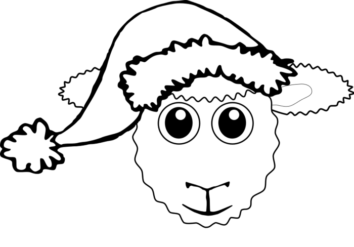 Clipart sheep colour. Face black and white