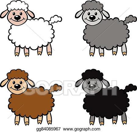 Clipart sheep colour. Vector color cartoon set