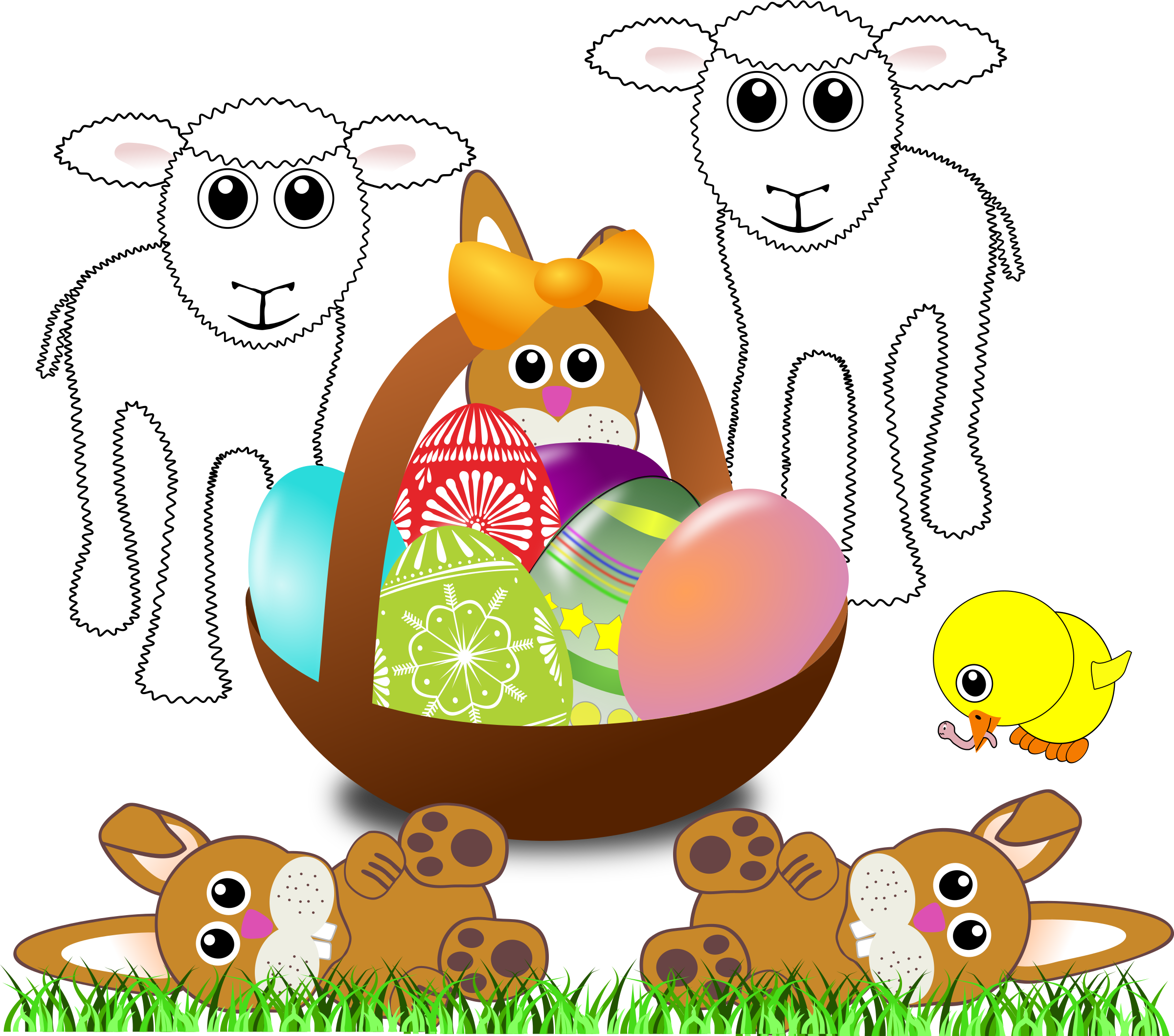 Funny lambs bunnies and. Sheep clipart easter