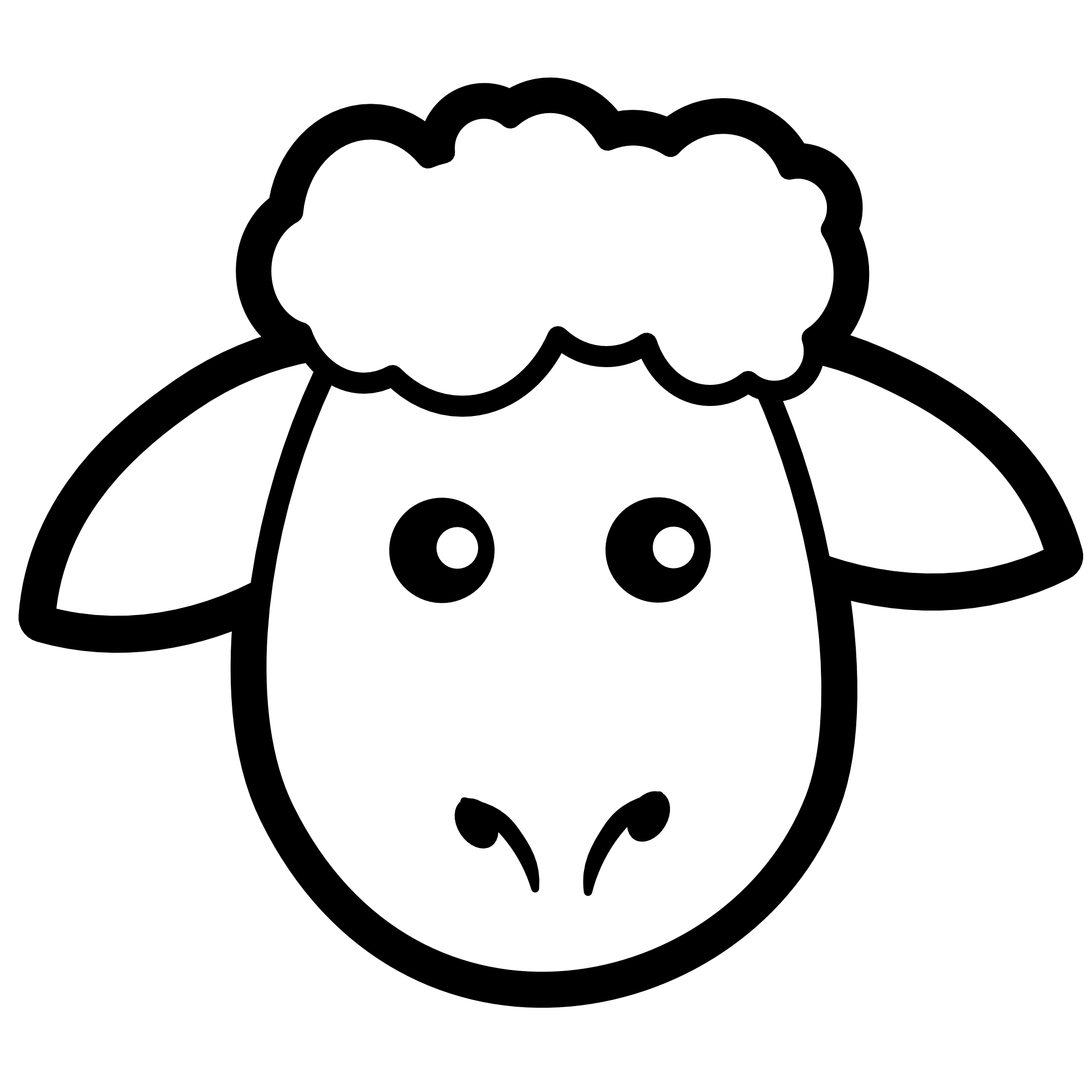 Straight face black and. Lamb clipart primitive