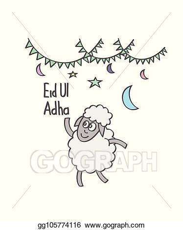Vector illustration cartoon doodle. Clipart sheep eid ul adha